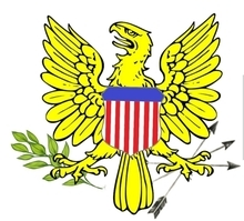 Coat of arms on the flag of the US Virgin Islands.